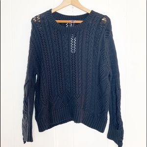 Splendid Distressed Cable-knit Boxy Sweater